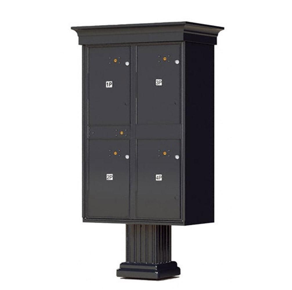 Black 4 Parcel Outdoor Parcel Locker Classic Decorative