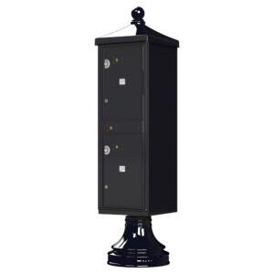 Black USPS-approved 2 Parcel Outdoor Parcel Locker Traditional Decorative