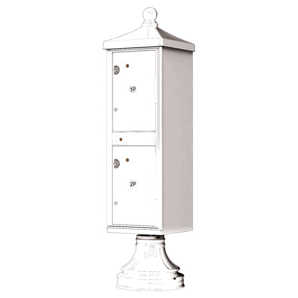 White 2 Parcel Outdoor Parcel Locker Traditional Decorative