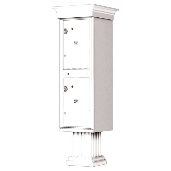 1590_T1V White USPS-approved 2 Parcel Outdoor Parcel Locker Classic Decorative
