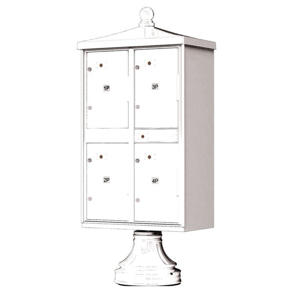 White 4 Parcel Outdoor Parcel Locker Traditional Decorative