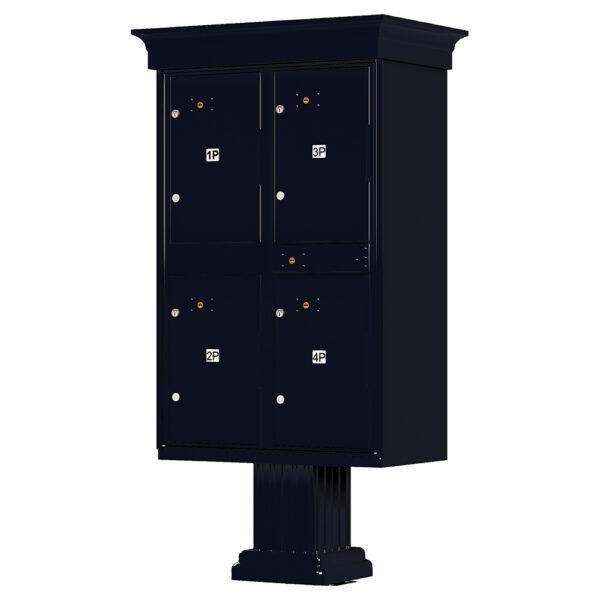 1590_T2V Black 4 Parcel Outdoor Locker Classic Decorative