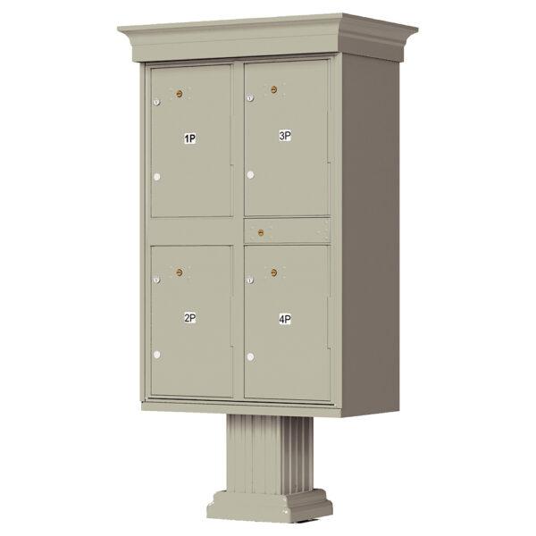 1590_T2V Grey 4 Parcel Outdoor Locker Classic Decorative