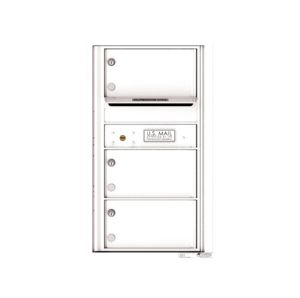 4C08S-03 3 Tenant Door 8 High Single Column 4C Front Loading Mailbox