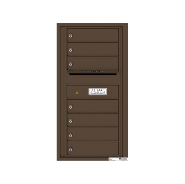 4C09S-07 7 Tenant Door 9 High Single Column 4C Front Loading Mailbox
