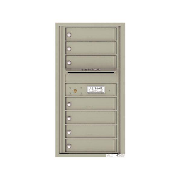 4C09S-07 7 Tenant Door 9 High Single Column 4C Front Loading Mailbox